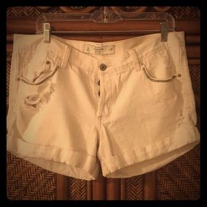 Abercrombie white distressed jean shorts